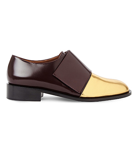 MARNI Contrast leather loafers (Burgundy+oro+sabbia