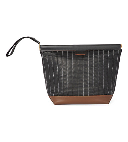 MARNI Quilted satin crepe bundle bag (Black+chestnut
