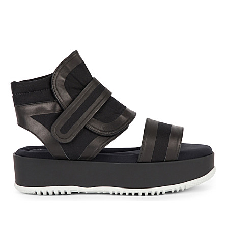 MARNI Canvas and rubber wedge sandals (Black