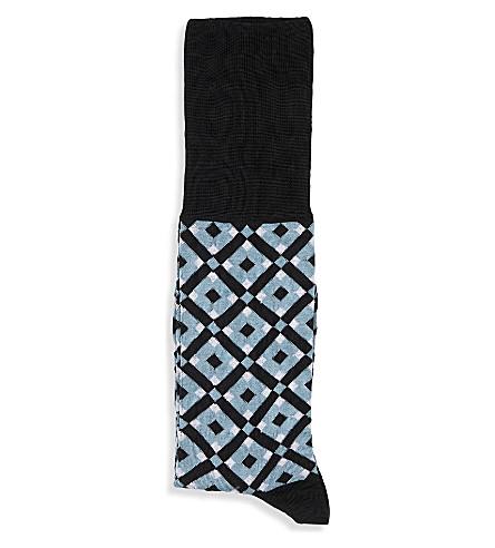 MARNI Tracery-print cotton socks (Dusk+blu