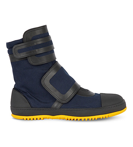 MARNI Canvas and rubber high-top trainers (Night+blue