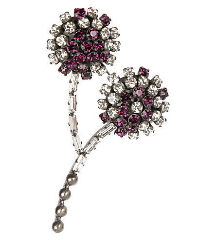 MARNI Embellished strass brooch (Mulberry