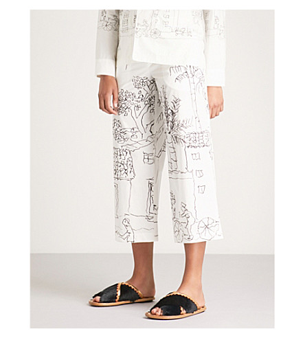 MARNI Illustration-print wide-leg cotton trousers (Lily+white