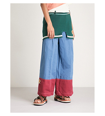 MARNI Contrast-cuff wide-leg cotton and linen-blend trousers (Orion+blue
