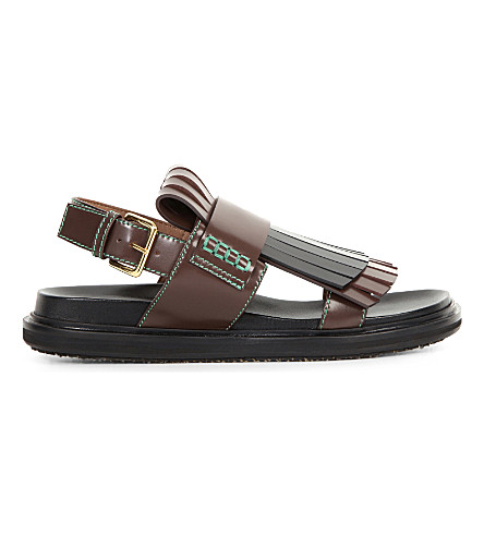 MARNI Fussbett fringed leather sandals (Cioccolato+carbone