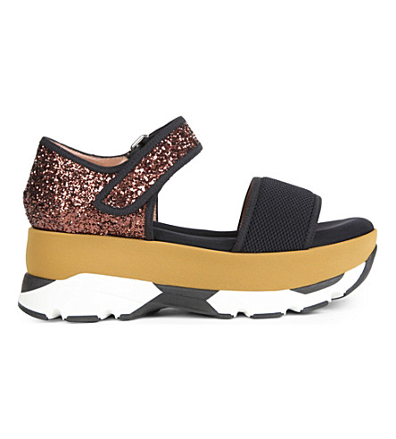 MARNI Strap-fastened glitter and mesh paltform sandals (Carbone+coffee