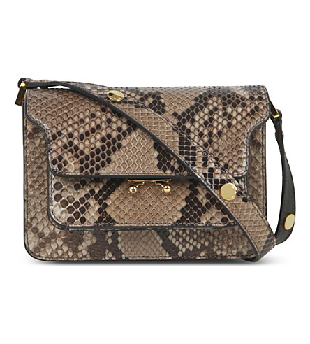 MARNI Mini trunk python-leather shoulder bag (Antique+silver