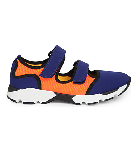 MARNI 色块氯丁橡胶和网眼运动鞋 (Bluette + + 柑橘