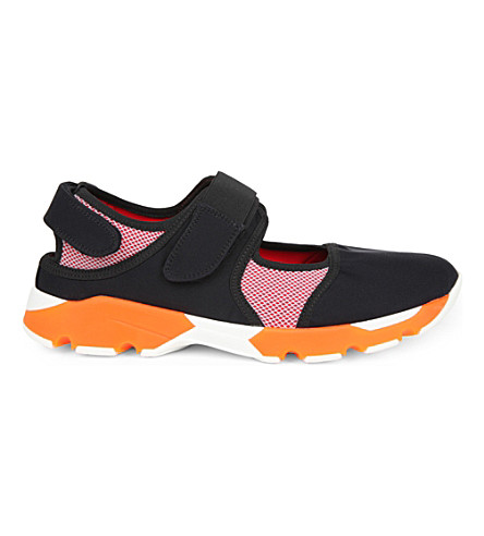 MARNI Colour-block neoprene and mesh sneakers (Carbone+dust+red