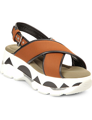 MARNI Geometric-print canvas and rubber platform sandals