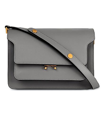 MARNI Trunk leather shoulder bag (Natural grey