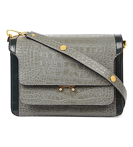 MARNI Trunk leather shoulder bag (Neutral+grey+juniper