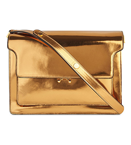 MARNI Trunk metallic-leather shoulder bag (Gold+sand