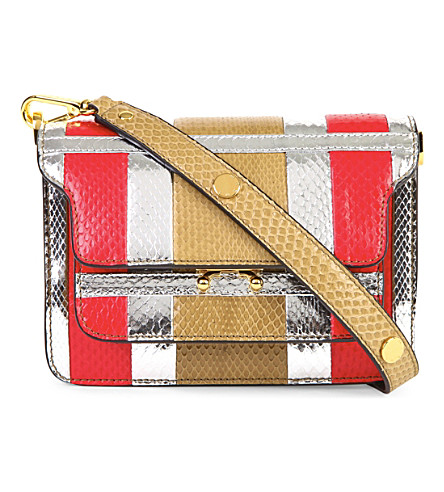 MARNI Mini snake-embossed leather trunk bag (Cork+red