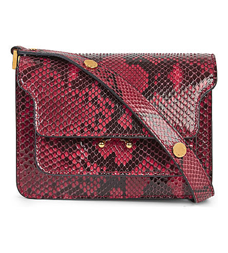 MARNI Mini Trunk python-leather shoulder bag (Indian+red