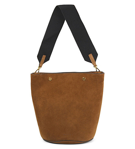 MARNI Contrast-strap suede bucket bag (Marron