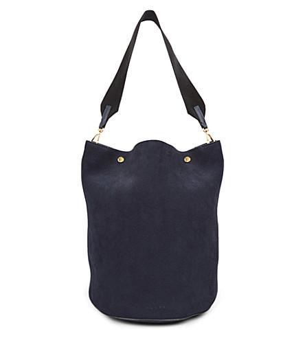 MARNI Contrast-strap suede bucket bag (Blublack