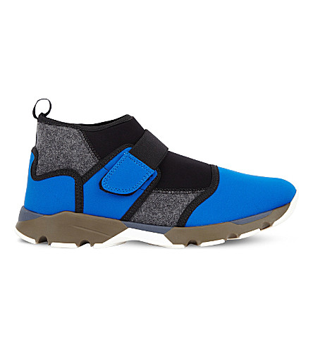 MARNI Scuba neoprene and felt trainers (Bluette+anthracite