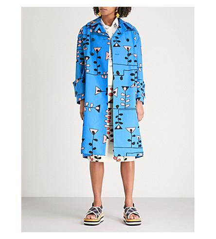 MARNI Artist print cotton and linen-blend coat (Cobalt