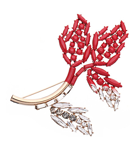 MARNI Gold-toned brass and resin foliage brooch (Red