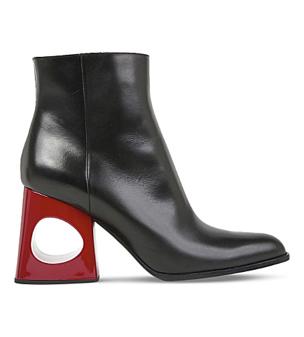 MARNI Cutout leather ankle boots (Black+rosso