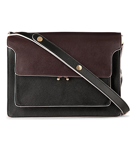 MARNI Trunk Saffiano shoulder bag (Cofee+&+coal