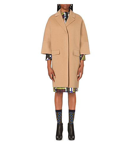 MARNI Wool, cashmere and angora-blend coat (Walnut