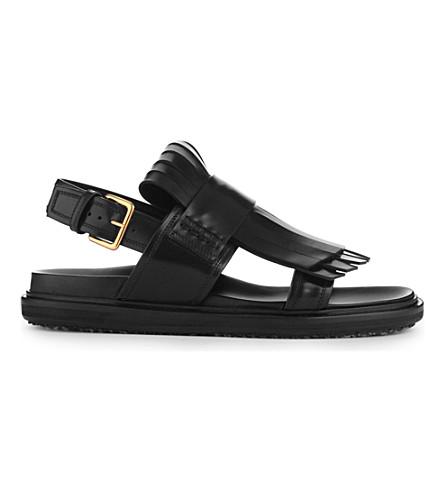 MARNI Fussbett leather flat sandals (Coal
