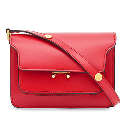MARNI Mini Trunk leather shoulder bag (Tulip+tulip