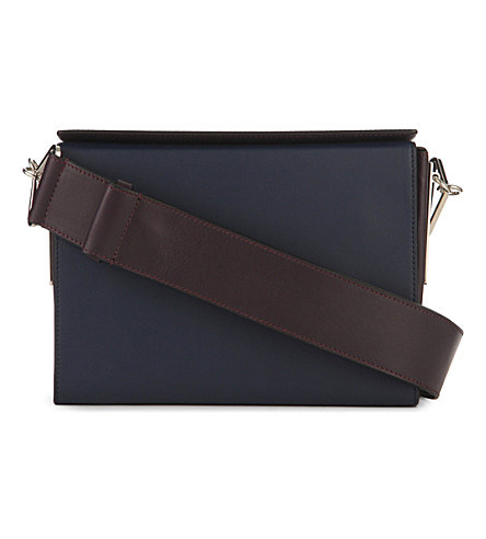 MARNI Box leather shoulder bag (Deep+blu+aubergine