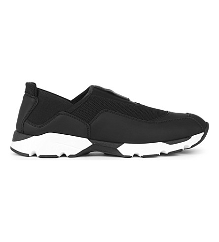 MARNI Leather and mesh trainers (Coal+coal