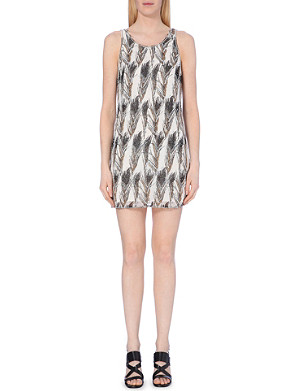 WAREHOUSE Embellished feather-motif dress