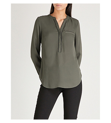 WAREHOUSE Piped detail blouse (Khaki