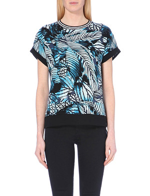 WAREHOUSE Palm-motif chiffon t-shirt