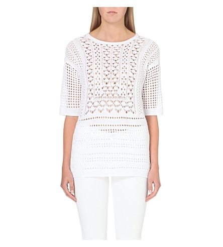 WAREHOUSE Open-crochet jumper (White