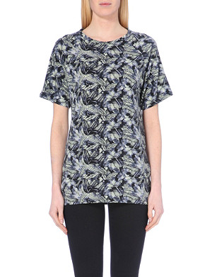 WAREHOUSE Leaf-motif jersey tunic top