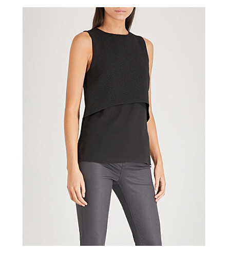 WAREHOUSE Double-layer crepe top (Black