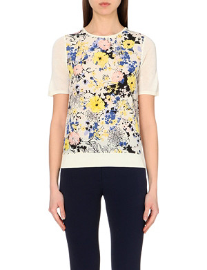 WAREHOUSE Pretty floral woven front tee