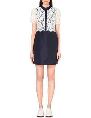 WAREHOUSE Lace detail shirt dress