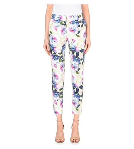 WAREHOUSE Floral-print stretch-cotton trousers (None