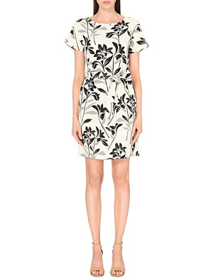 WAREHOUSE Floral-print crepe dress