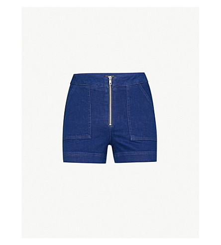 WAREHOUSE Zip-detail stretch-denim shorts (Blue