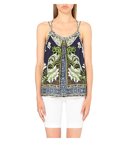 WAREHOUSE Floral-print pleated camisole (Navy