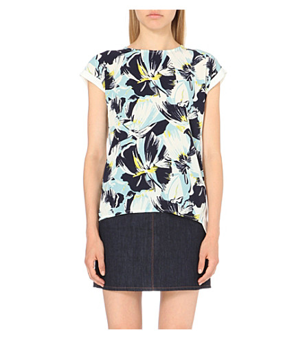 WAREHOUSE Floral-print jersey t-shirt (None