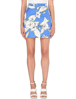 WAREHOUSE Floral-print cotton skirt