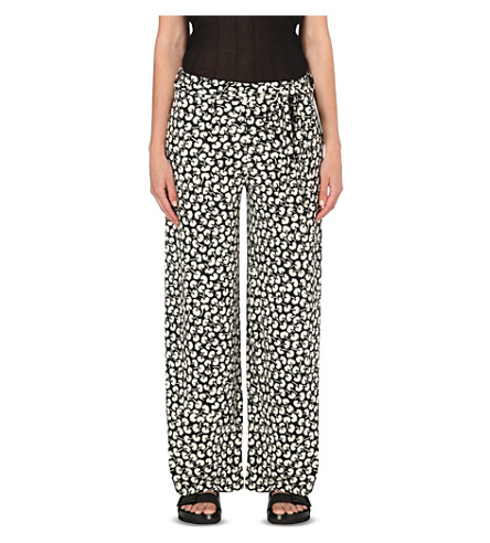 WAREHOUSE Floral-print jersey pants (Black