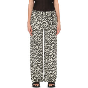 Floral-print jersey trousers