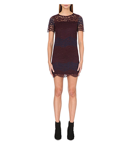 WAREHOUSE Striped floral-lace dress (None
