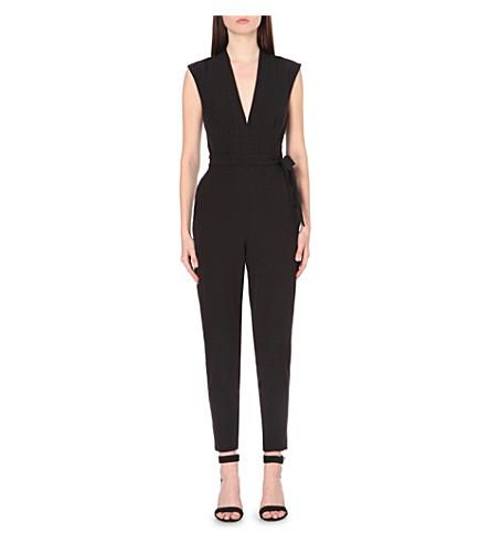 WAREHOUSE Plunge-neck crepe jumpsuit (Black