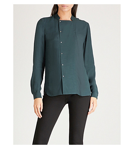 WAREHOUSE Stand-collar crepe shirt (Dark+green
